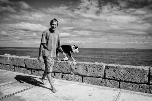 Man and his dog, South Beach, Fremantle